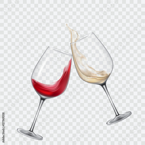 Canvas-taulu Set transparent glasses with white and red wine