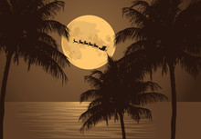 Santa's Ride. Santa Claus Rides Past The Full Moon Over A The Tropics To Deliver Christmas Gifts. EPS 10 Vector.