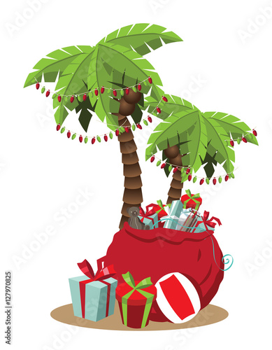 Christmas Lights Cartoon.Christmas In A Warm Climate Palm Tree With Christmas Lights