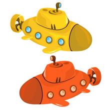 Toy Yellow And Orange Submarine Isolated