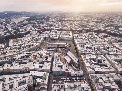 Foto op Plexiglas Krakau Drone aerial winter view of Krakow market square, with snow. Poland, Europe.