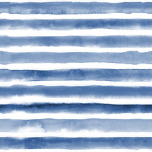 Watercolor Seamless Pattern With Blue Stripes. Repeat Straight Stripes Texture Background. Hand Drawing Pattern.