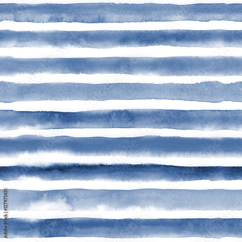 Foto  Watercolor seamless pattern with blue stripes