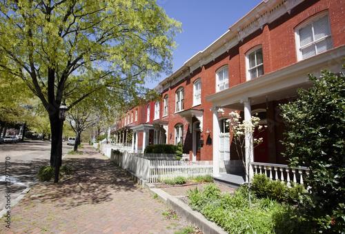 Photo Row houses. Early spring. Richmond, Virginia. Horizontal.