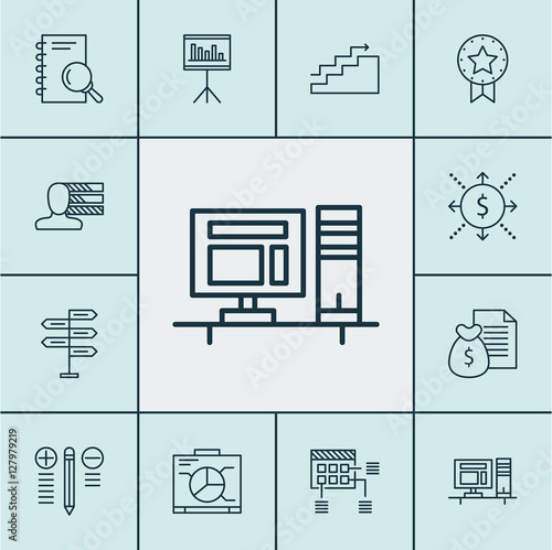Set Of Project Management Icons On Computer, Board And