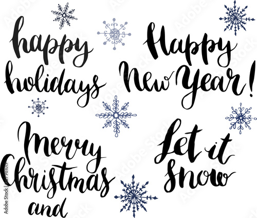 vector with happy holidays let it snow merry christmas and happy new year lettering