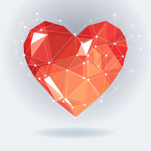 Low Poly Heart With White Molecule Structure. Vector Illustration. Abstract Polygonal Heart. Love Symbol. Romantic Background For Valentines Day. Red Origami.