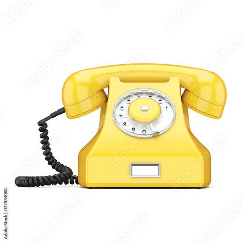 Foto op Canvas Schepselen 3D rendering old yellow phone
