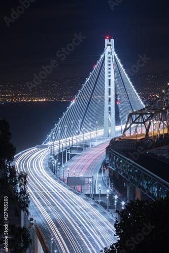 Fényképezés  New Bay Bridge Night Car Trails