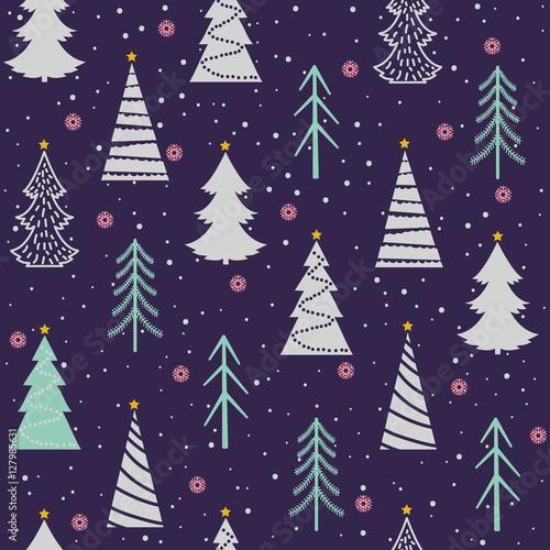 bezszwowy-bozenarodzeniowy-wektoru-wzor-z-jedlinami-platkami-sniegu-sniegiem-gwiazdami