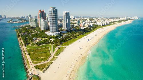 Canvas Prints Air photo South Beach, Miami Beach. Florida. Aerial view. Paradise. South Pointe Park and Pier