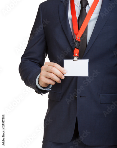 Photographie Businessman wearing a blank ID tag or name card on a lanyard at an exhibition or