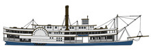 Hand Drawing Of A Vintage Steam Paddle Riverboat
