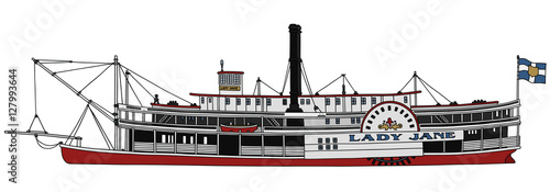 Valokuva Hand drawing of a classic steam paddle riverboat