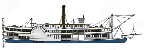 Obraz na płótnie Hand drawing of a vintage steam paddle riverboat