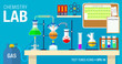 Scene of chemical laboratory with an experiment in process on the table. Chemistry classroom. Vector illustration design