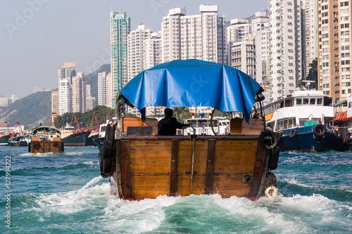 Obraz na plátně Sampan in Aberdeen Harbour, Hong Kong