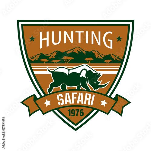 Fotografie, Obraz  Hunting, safari heraldic badge with african rhino