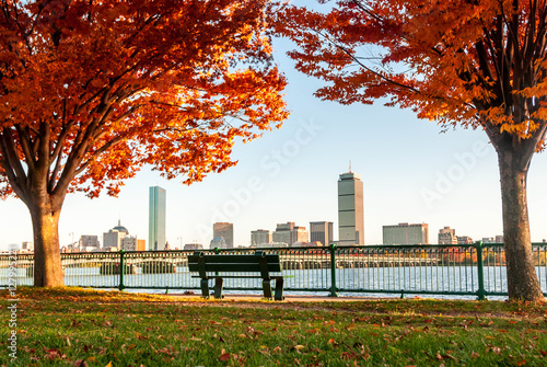 Stampa su Tela Boston Skyline in Autumn viewed from across the river