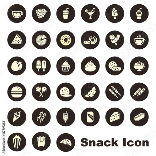 Fotografía  Simple Circle Snack and Fast Food Isolated Icon Symbol