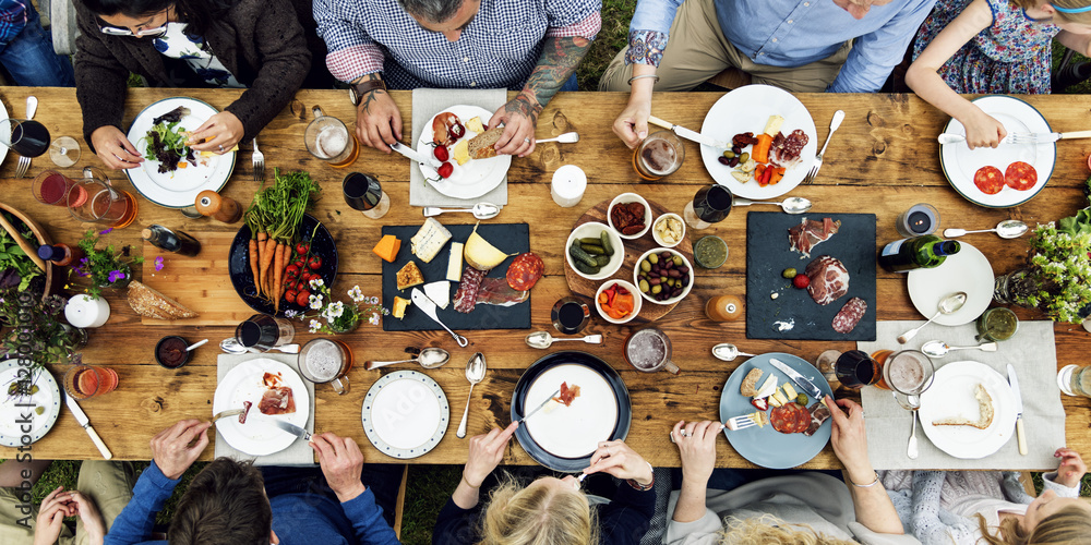 Fototapeta Group Of People Dining Concept