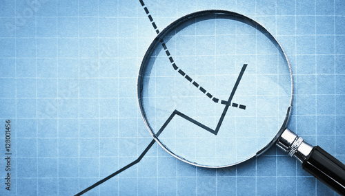 Vászonkép magnifying glass on graph