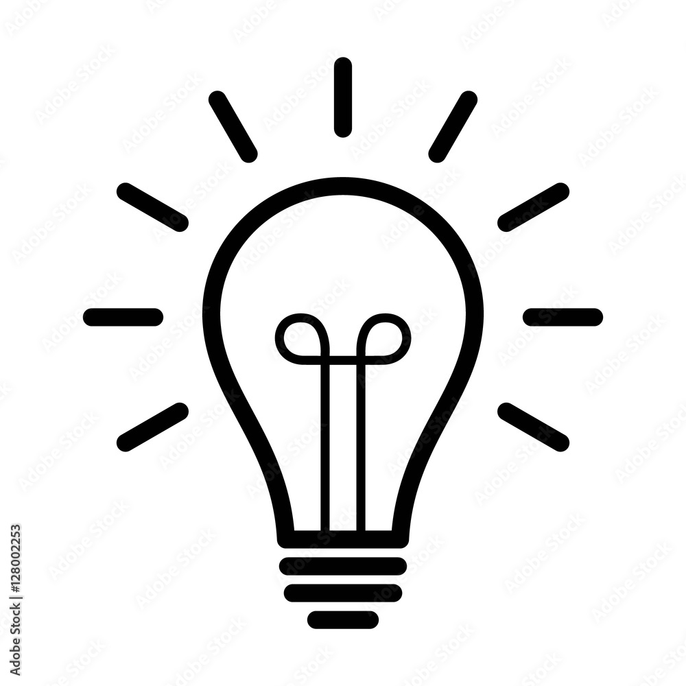 Photo  Vintage light bulb / lightbulb turned on or idea line art icon for apps and webs
