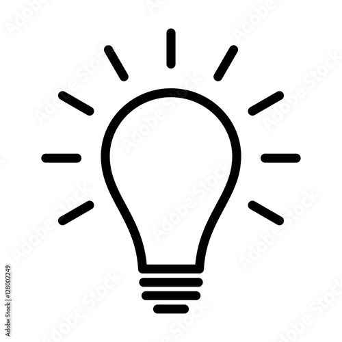 Photo  Incandescent light bulb / lightbulb turned on or idea line art icon for apps and