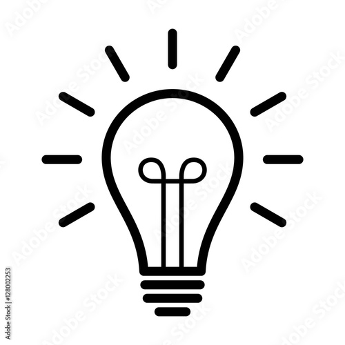 Fotografie, Obraz  Vintage light bulb / lightbulb turned on or idea line art icon for apps and webs