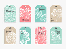 Set Of Cute Gift  Tag With Handcrafted Texture Leaves Imprints. Tag, Card, Label, Banner Design Set. Vector Illustration