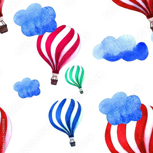 akwarela-wzor-z-balonem-i-chmury-recznie-rysowane-vintage-kolaz-ilustracji-dzieci
