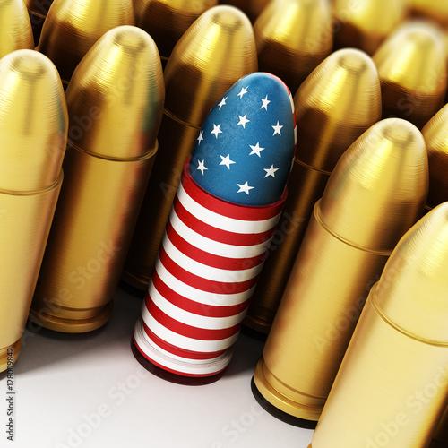 Fotografia, Obraz American flag textured bullet among yellow bullets