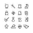 Magic and magician tools thin line vector icons