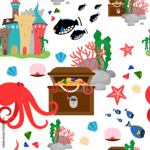 Cotton fabric Cartoon sea animals and marine treasures seamless pattern. Vector illustration