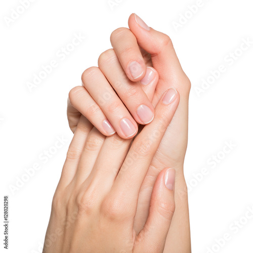Woman's hands with neat manicure. Isolated on white background. Poster