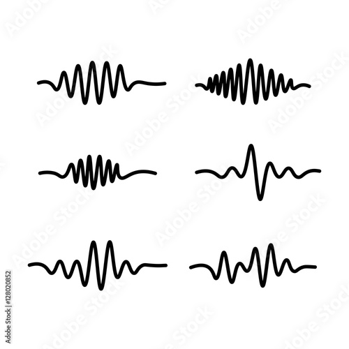 Obraz na plátně  thin line sound waves icon on white background