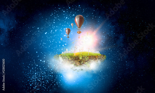 Photo  Abstract collage. Floating Island with baloons. . Mixed media