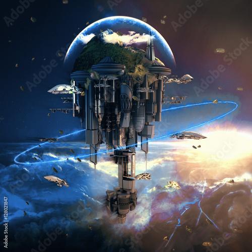 Digital illustration of fantasy futuristic science fiction floating land with al Wallpaper Mural