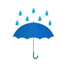 Blue Umbrella With Raindrop Ve...