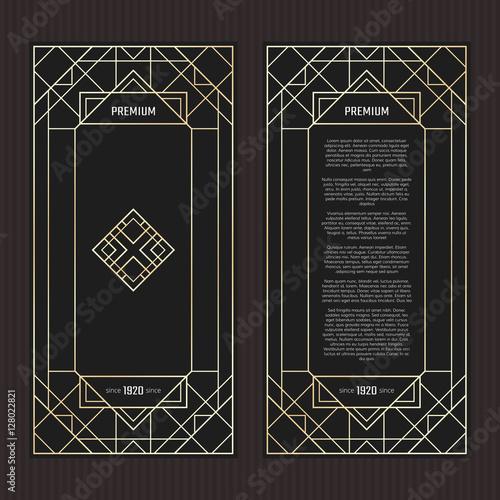 Vector Geometric Cards In Art Deco Style Premium Vector