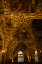 Look From Below At Marvelous Ceiling Of An Old Catholic Cathedra