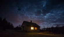 Landscape With House At Night ...