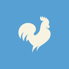 Rooster Silhouette. Modern Fla...