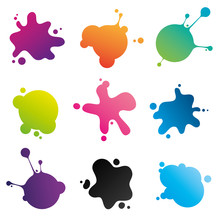 Colorful Ink Spots Collection: Set Of Stains Different For Shape And Color Isolated On White Background. Vector Image.