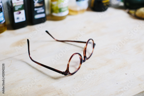 a pair of modern glasses on a table