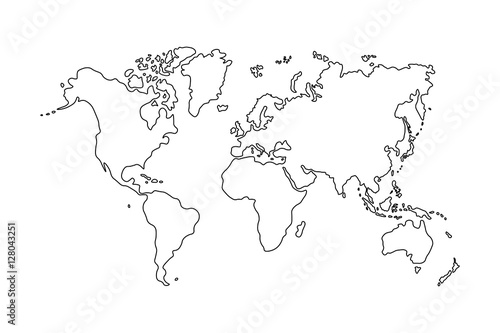 La pose en embrasure Carte du monde Outline of world map on white background