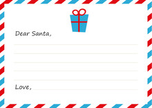 Template Envelope New Year's Letter To Santa Claus. Icon Gift. Vector Illustration. Flat Design.