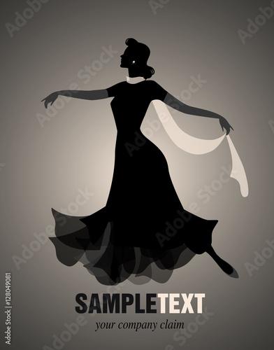 Fotografía  Elegant woman silhouette dancing retro style