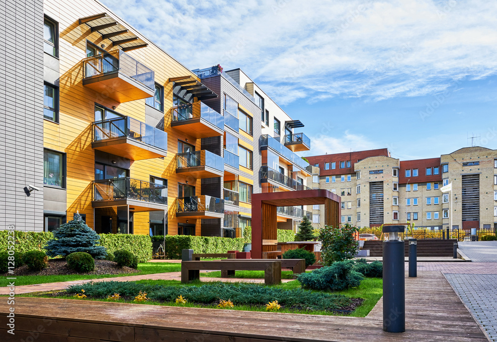 Fototapety, obrazy: Modern complex of residential buildings with many benches