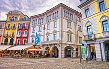 Piazza Grande In City Center In Locarno Of Ticino Switzerland